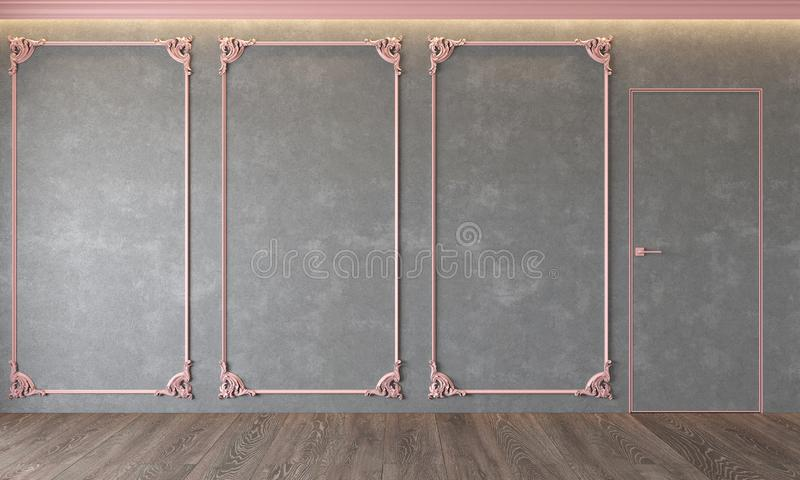 Modern classic gray interior with stucco, pink moldings, architecture beton, concrete, door, ceiling backlit. Modern classic gray interior with stucco, pink vector illustration