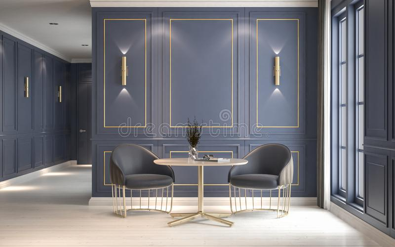 Modern classic interior with armchairs and coffee table, decorative blue wall with gold frame, 3D rendering, 3D illustration vector illustration