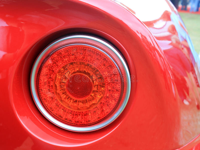 Modern classic italian sports car rear tail lamp. Alfa romeo c8 royalty free stock image