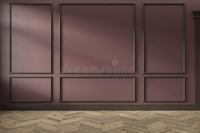 Modern classic red, marsala, burgundy color empty interior with wall panels, mouldings and wooden floor. 3d render illustration mock up stock image