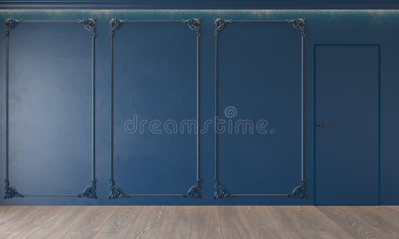 Modern classic royal blue interior with stucco, door, wooden floor, ceiling backlit, molding. vector illustration