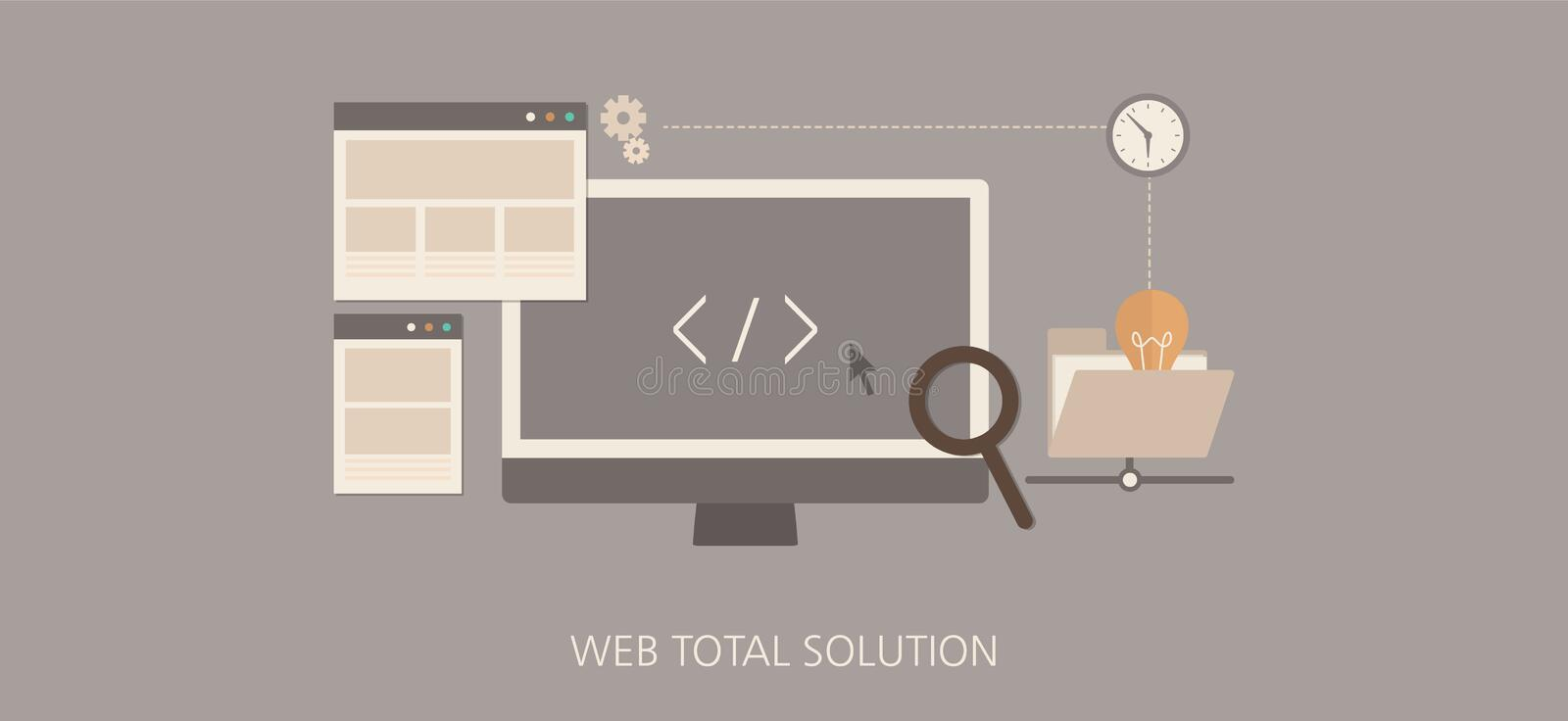 Modern and classic web total solution flat concept icon set stock illustration