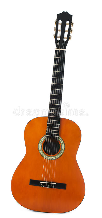 Modern classical acoustic guitar isolated on white background stock photography
