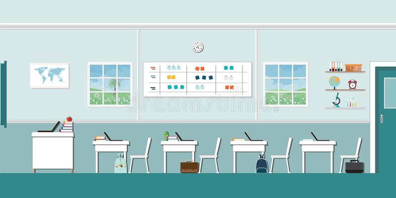 Modern Classroom Interior with blackboard stock illustration