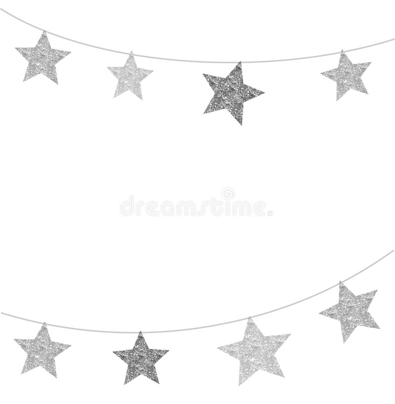 Modern, clean background with black and silver star garlands. Merry Christmas - modern, clean background with black and silver stars, garlands vector illustration