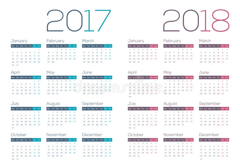 2017 2018 Modern and Clean Business Calendar. 2017 and 2018 Modern and Clean Business Calendar available in JPG and EPS format. Week starts with Monday stock illustration