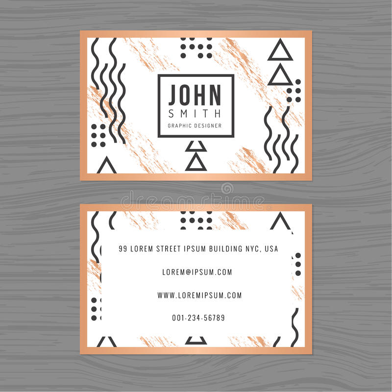 Modern clean business card template in abstract background. Linear outline design. Printing design template. stock illustration