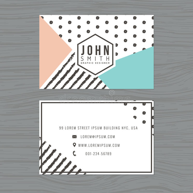 Modern clean business card template in stripes and polka dot background. Printing design template. Modern clean business card template in stripes and polka dot vector illustration