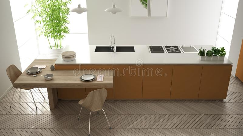Modern clean contemporary orange kitchen, island and wooden dining table with chairs, bamboo and potted plants, big window and. Herringbone parquet floor royalty free illustration