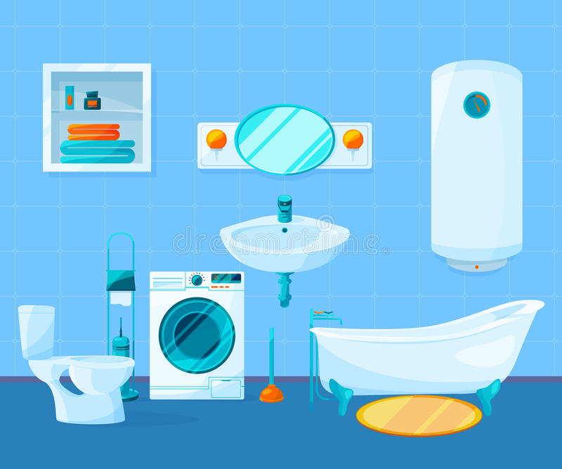 Download Modern Clean Interior Of Bathroom Vector Pictures In Cartoon Style Stock