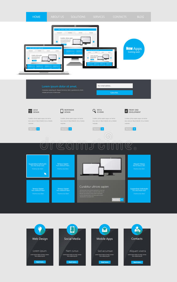 Modern Clean One page website design template. All in one set for website design that includes one page website template. stock illustration