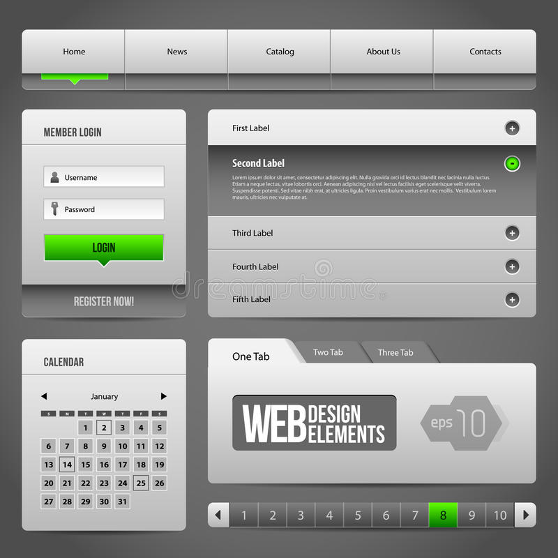 Modern Clean Website Design Elements Grey Green Gray 3: Buttons, Form, Slider, Scroll, Carousel, Icons, Menu, Navigation Bar. Modern Clean Website Design stock illustration