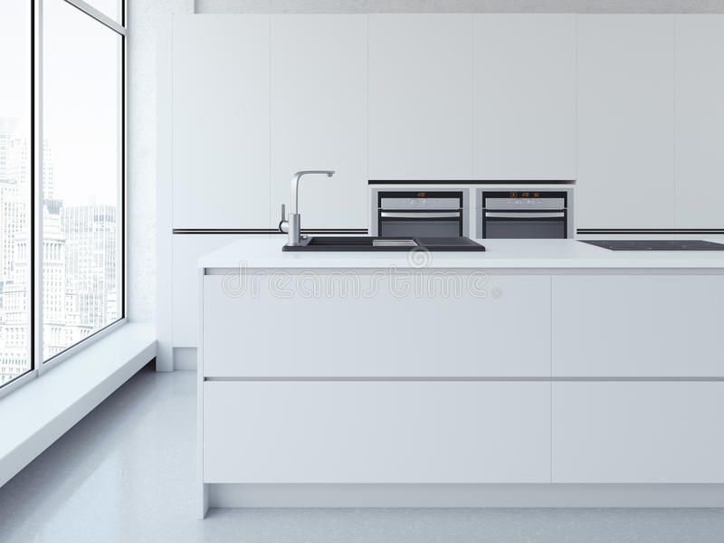 Modern clean white kitchen. 3d rendering stock photography