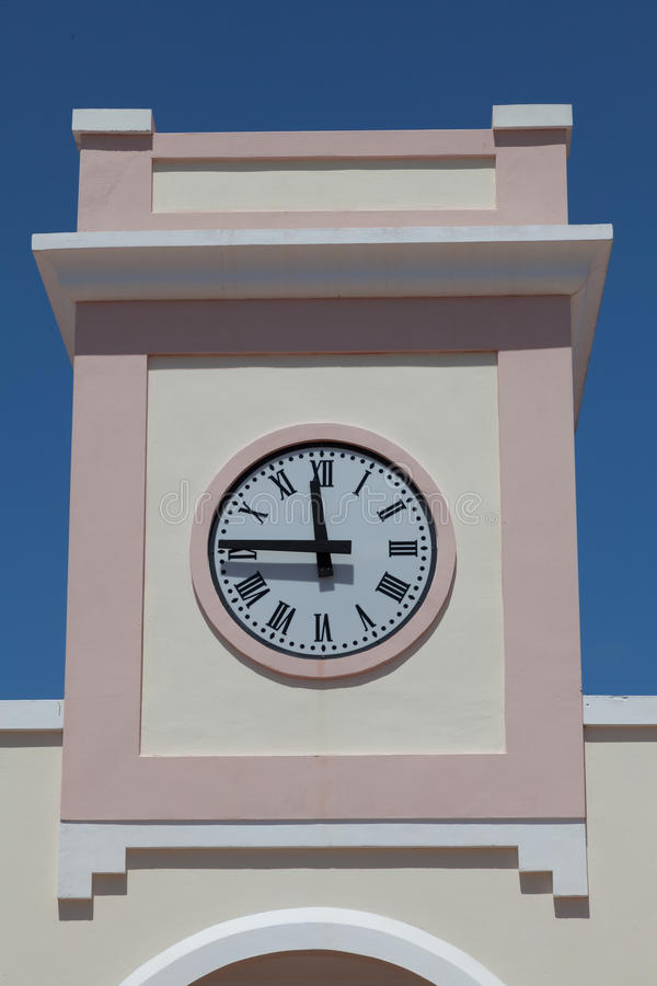 Modern clock on the tower. stock photo