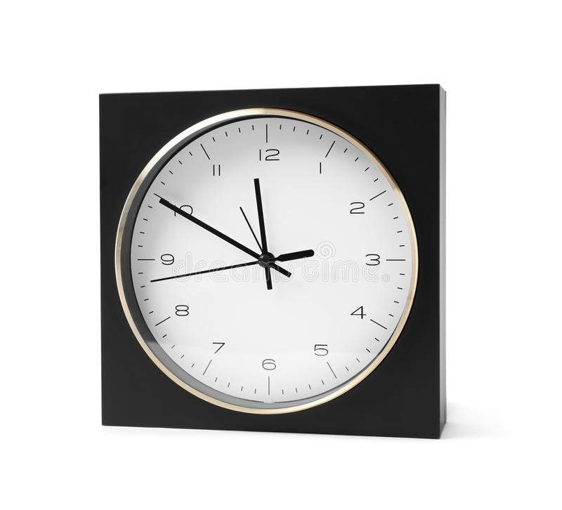 Modern clock on white background. Time management stock images
