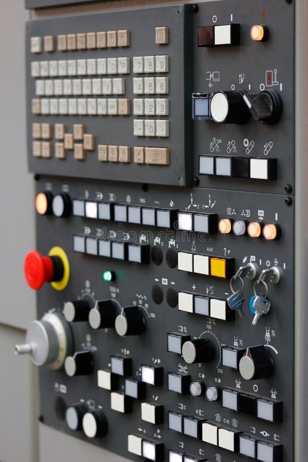 Modern CNC control panel. Control panel of modern CNC machining center. Selective focus stock photo
