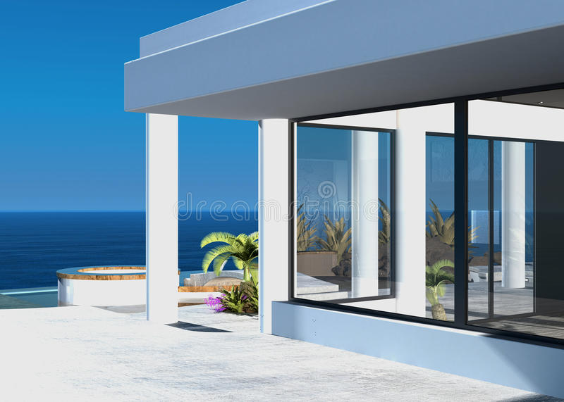 Modern coastal home with an outdoor patio. Overlooking the ocean on a hot tropical sunny day royalty free illustration