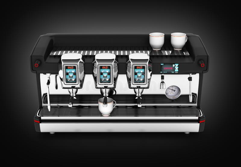Modern Coffee Machine on black gradient background 3d royalty free illustration