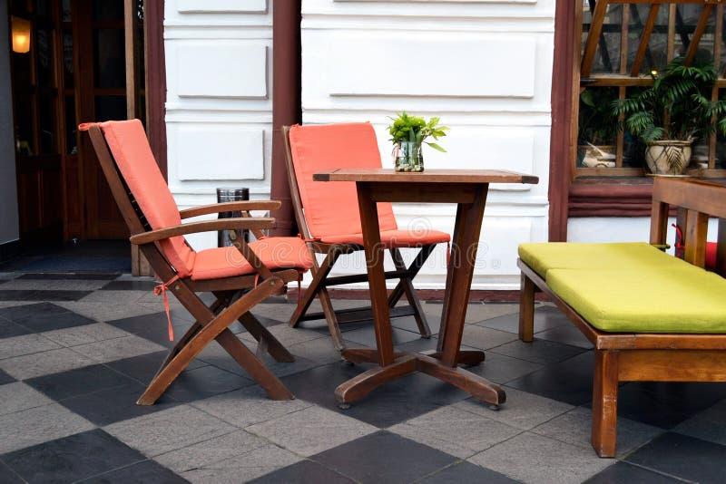 Modern coffee shop furniture royalty free stock photos