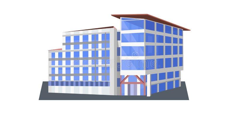 Modern collectief de bureaubouw pictogram commercieel centrum buiten met grote panoramische vensters vlakke horizontaal vector illustratie