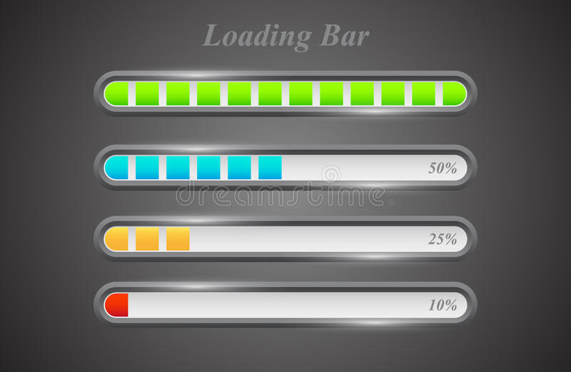 Modern color loading bars set stock illustration