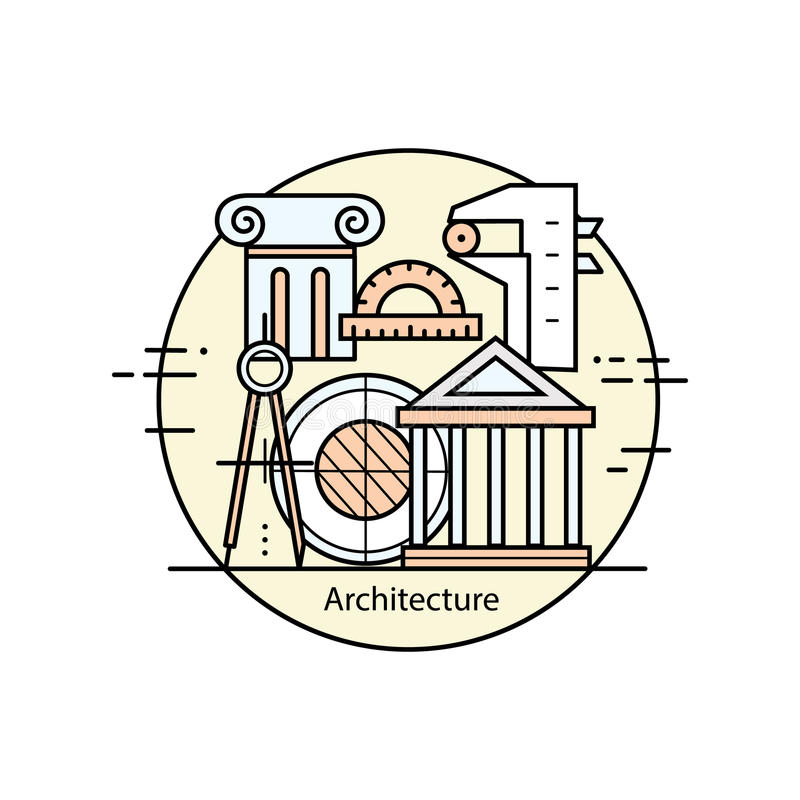Modern color thin line art design architecture and construction. stock illustration