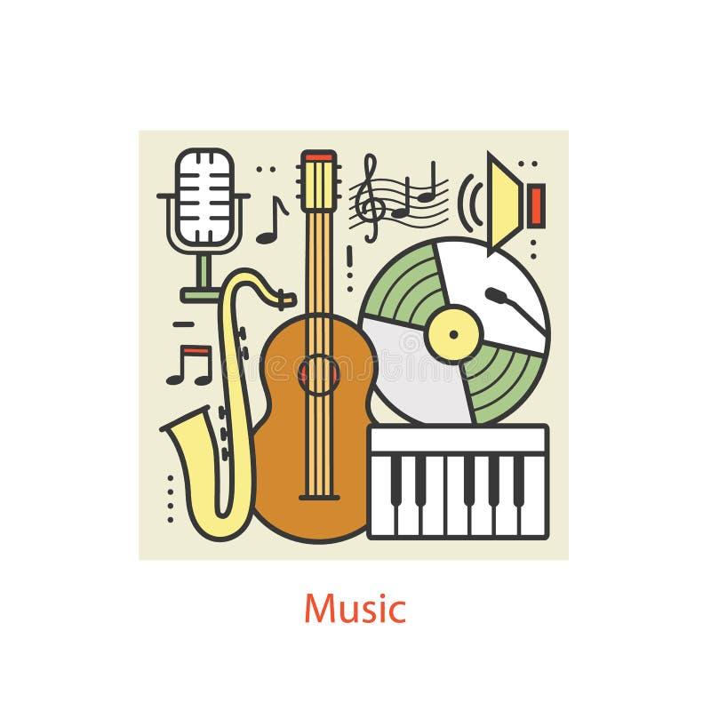Modern color thin line art design music. royalty free illustration
