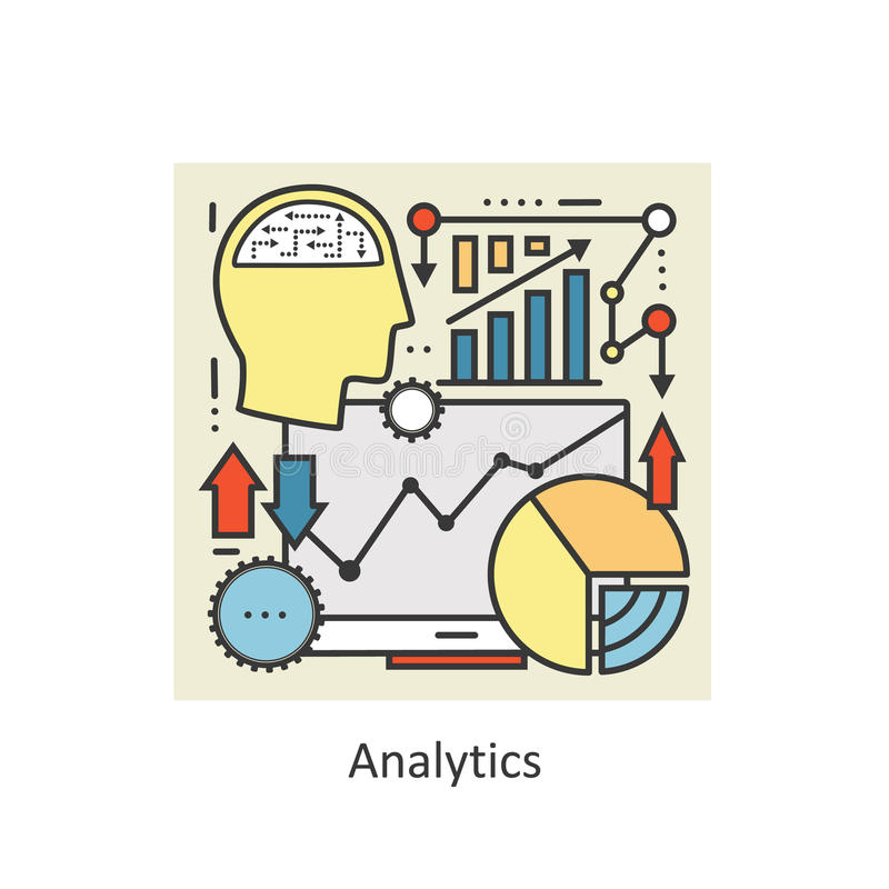 Modern color thin line concept analytics. royalty free illustration