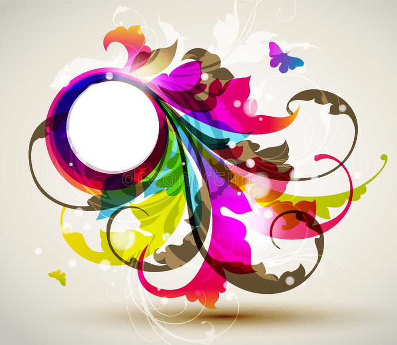 Download Modern Colored Floral Frame Stock Photography - Image: 20266502