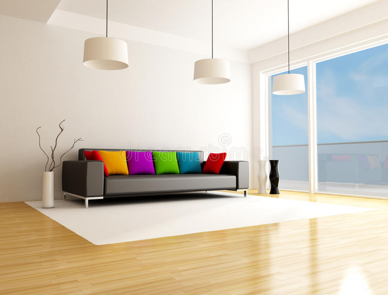 Download Modern colored living room stock illustration. Image of domestic - 14990752