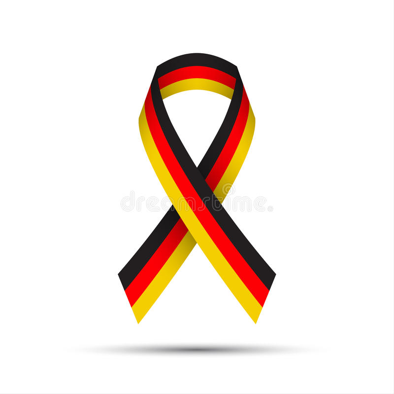 Modern colored ribbon with the German tricolor stock illustration