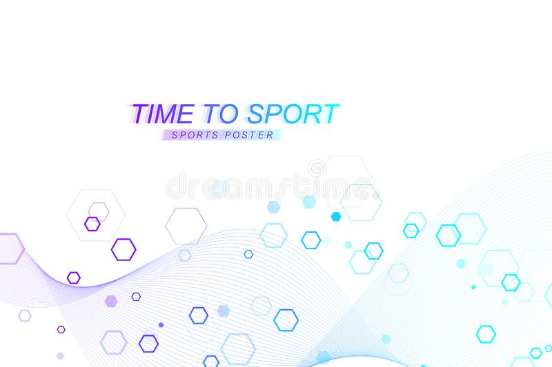 Modern colored sport background. Abstract design with lines, flow wave, hexagon, hex for your design. Sport concept stock illustration