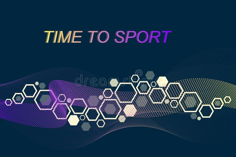 Modern colored sport background. Abstract design with lines, flow wave, hexagon, hex for your design. Sport concept vector illustration