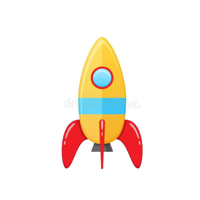 Modern colorful children s toy space rocket with a round window. Aircraft for cosmonauts, exploring the universe, teaching, developing, cognitive cartoon kid s vector illustration