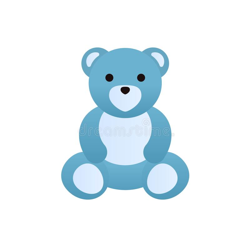 Modern colorful children`s toys. Cute funny teddy bear. vector illustration