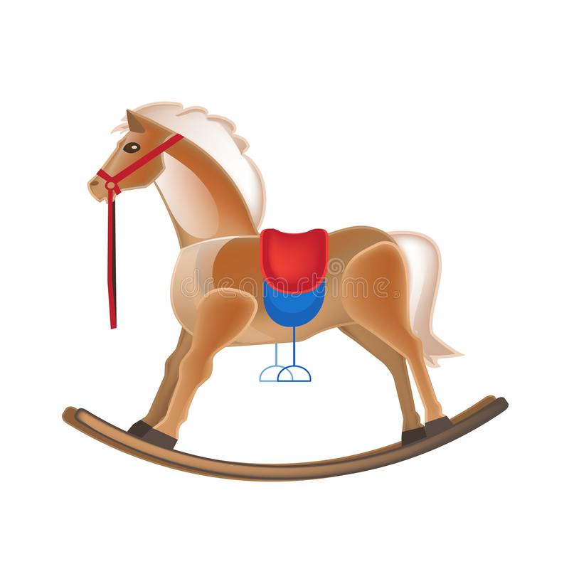 Modern colorful children`s toys. Horse rocking, entertainment, swing, carousel. stock illustration