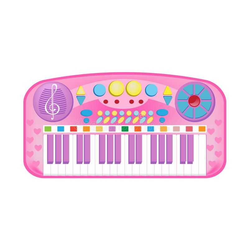 Beautiful musical synthesizer with lot of different keys and functions. Modern colorful children`s toys. Toy store, kindergarten, home kids games. Educational royalty free illustration