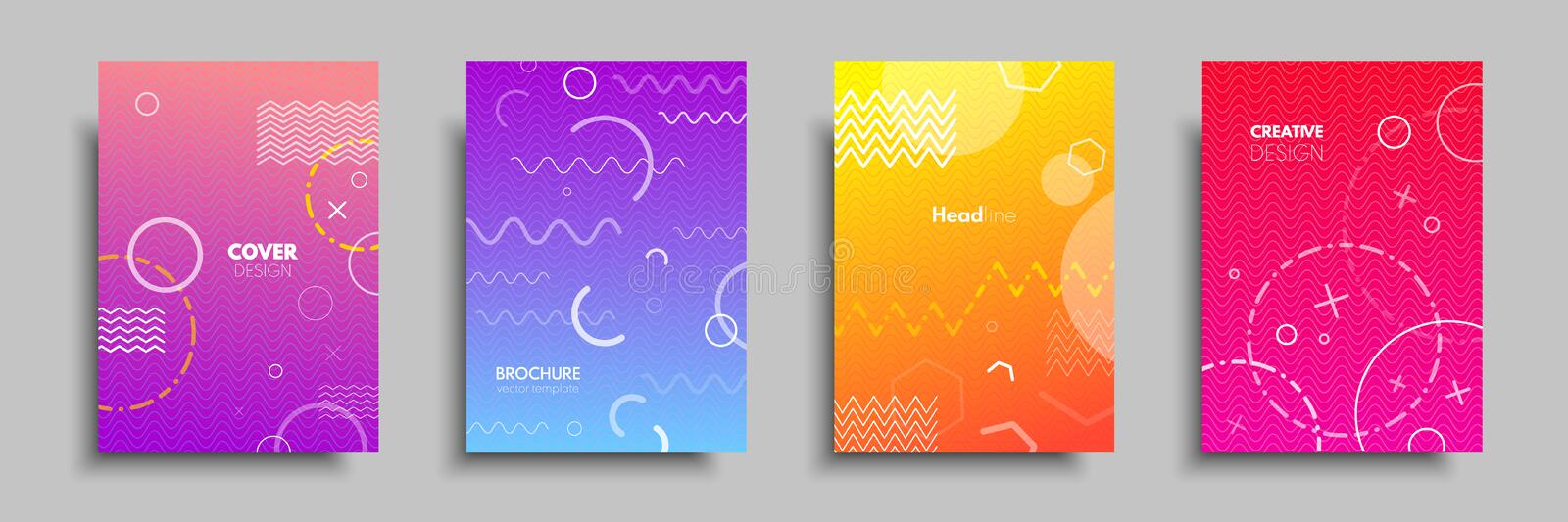 Modern colorful covers with multi-colored geometric shapes and objects. Abstract design template for brochures, flyers, banners, h vector illustration