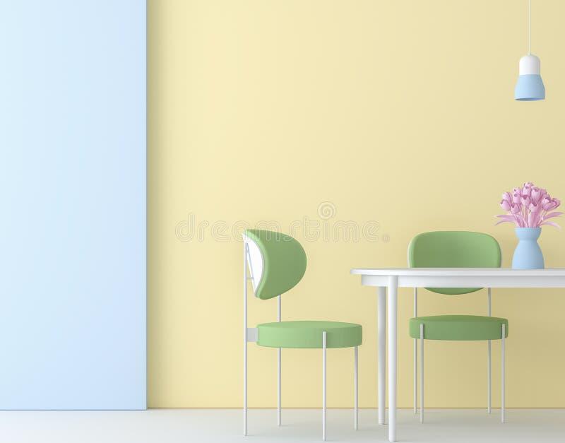 Modern colorful dining room 3d render vector illustration