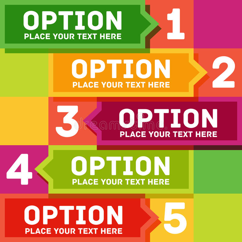 Modern colorful flat designed option template. For royalty free illustration