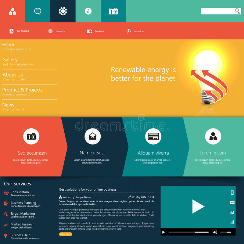 Modern Colorful Flat Website Template EPS 10 Vector Illustration ...