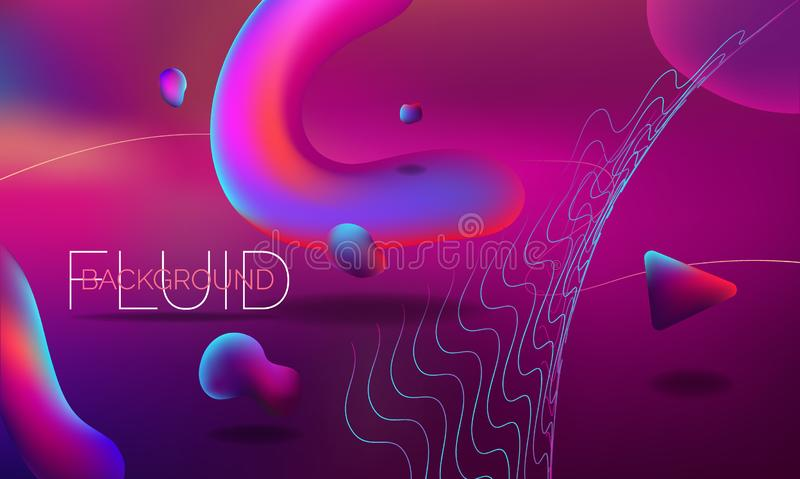 Modern colorful flow poster. Wave Liquid shape on dark pink color background. Art design for your project. Abstract Fluid background sign. Vector illustration royalty free illustration