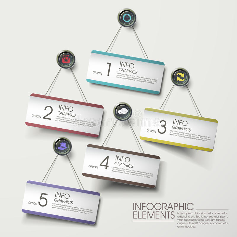 Modern colorful hanging card infographic elements vector illustration