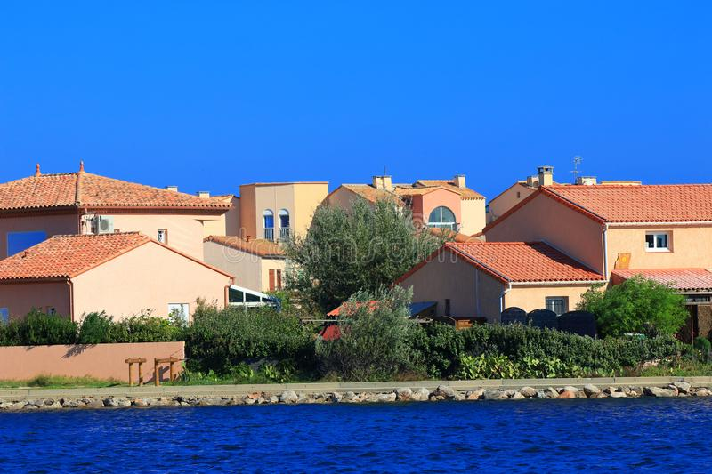 Modern and colorful house in a mediterranean seaside town, France royalty free stock image