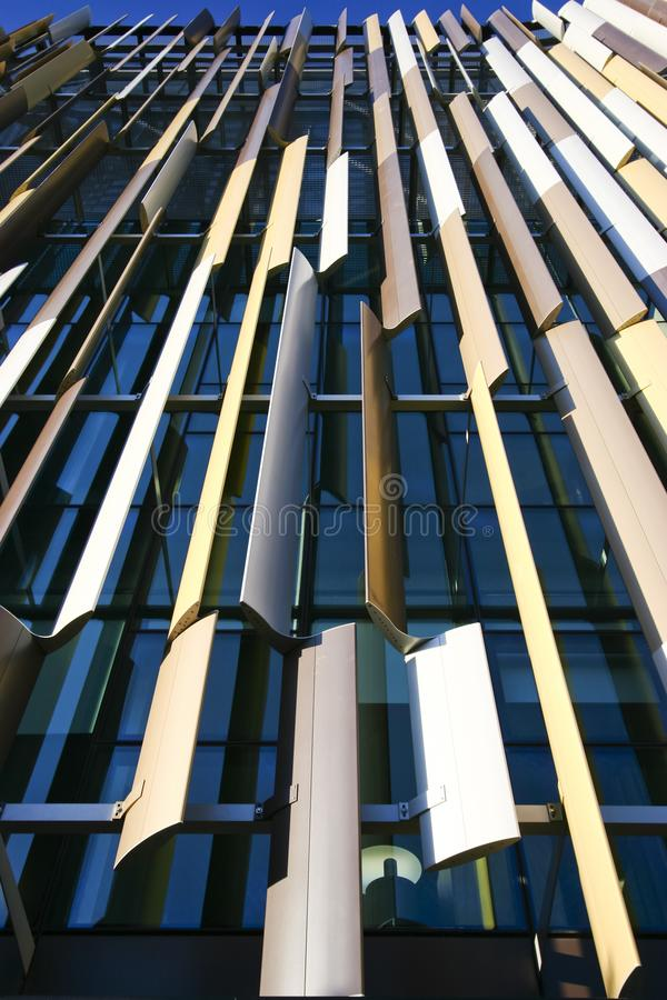 Modern colorful louvered facade of ASB Bank Headquarters, North Wharf Wynyard Quarter, Auckland, New Zealand. Contemporary architecture with louver slat screen stock images