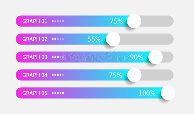 Modern colorful purple and blue gradient 3d chart, graph. Template for horizontal diagram, presentation. 5 Infographics. Elements. Vector illustration stock illustration