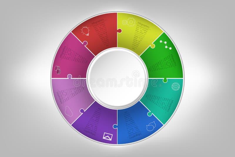 Modern colorful 8 steps timeline infographics in jigsaw shape. E stock illustration