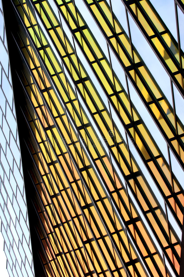 Modern coloured glass wall in Amsterdam royalty free stock image