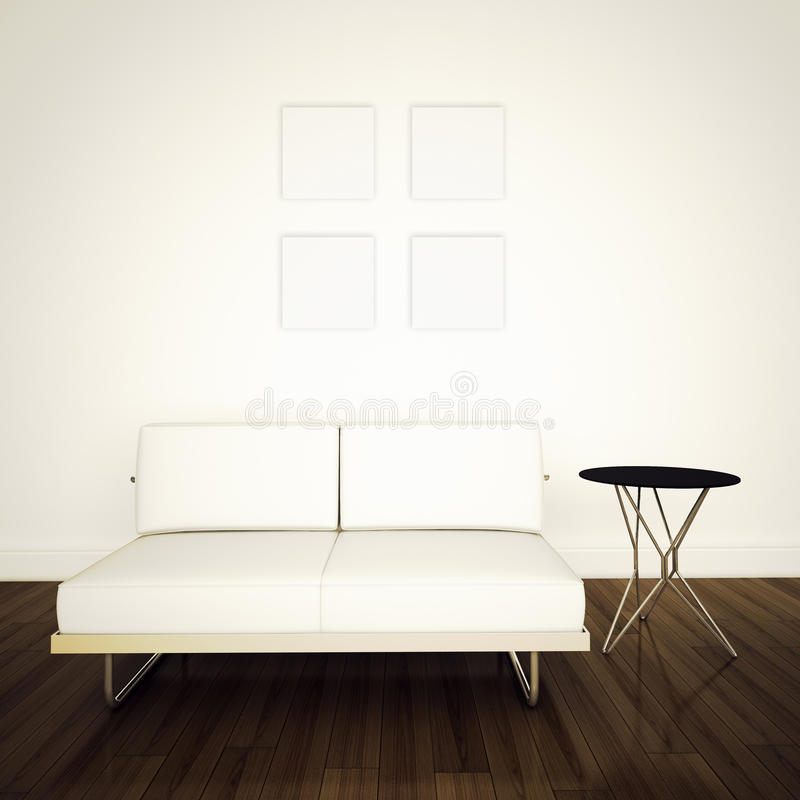 Modern comfortabel binnenland met het 3d teruggeven royalty-vrije stock afbeeldingen