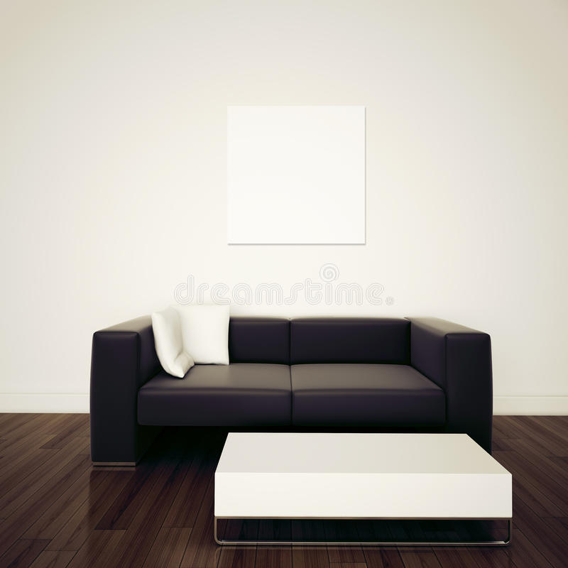 Modern comfortabel binnenland met het 3d teruggeven stock foto's